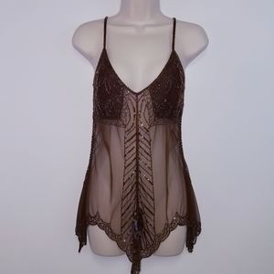 Wet Seal Very Sheer Size Small Beaded Tank Top
